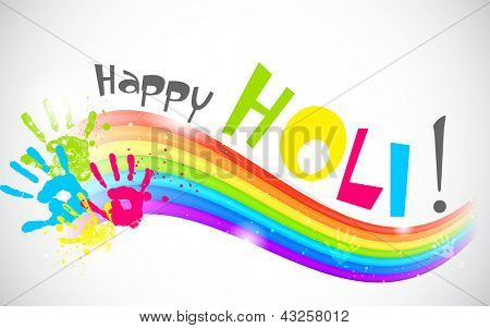 Illustration of colors of rainbow in Holi wallpaper