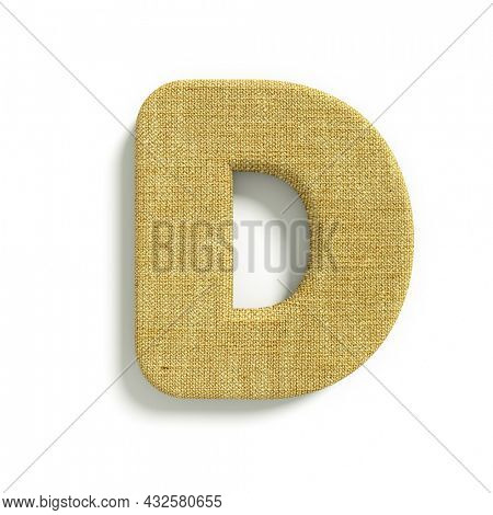 hessian letter D - Uppercase 3d jute font isolated on white background. This alphabet is perfect for creative illustrations related but not limited to fabric, design, decoration...