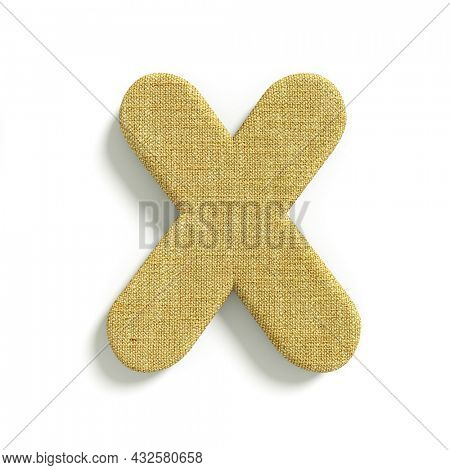 hessian letter X - Capital 3d jute font isolated on white background. This alphabet is perfect for creative illustrations related but not limited to fabric, design, decoration...