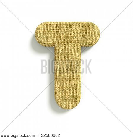 hessian letter T - Capital 3d jute font isolated on white background. This alphabet is perfect for creative illustrations related but not limited to fabric, design, decoration...
