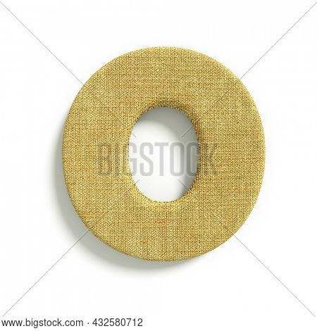 hessian letter O - Capital 3d jute font isolated on white background. This alphabet is perfect for creative illustrations related but not limited to fabric, design, decoration...
