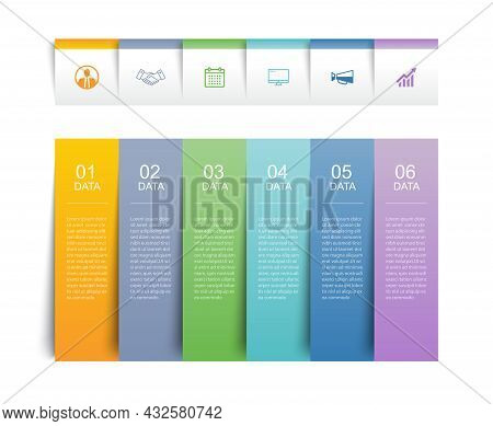 6 Data Infographics Tab Paper Index Template. Vector Illustration Abstract Background.