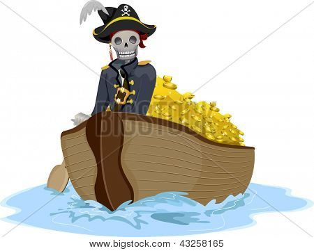 Illustration of a Uniformed Pirate Transporting Gold