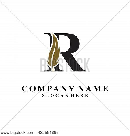 Initial Letter R Logo With Feather Concept. Design Concept Luxury Feather Element And Letter R For C