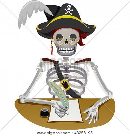 Illustration of a Pirate Writing a Letter with a Quill Pen