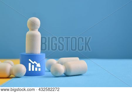 Wooden Doll Figure Standing On The Podium And Look For His Friends. Layoff, Jobless And Unemployed C