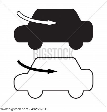 Car Air Ac Icon On White Background. Air Ac Sign. Car Air Conditioning Symbol. Flat Style.