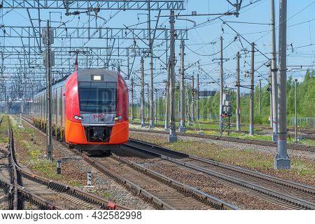 Leningrad Region, Russia - May 24, 2021: Electric Train Es2gp-006