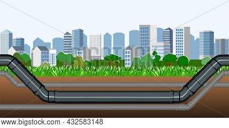 Pipeline For Various Purposes. Providing The City. Underground Part Of System. Illustration Vector.