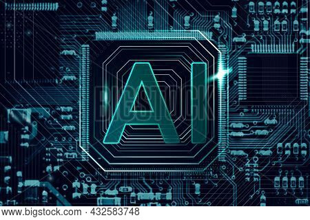 AI technology microchip background futuristic innovation technology remix