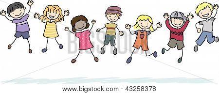 Abbildung der Stickman Kinder springen