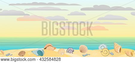 Frontal View Of The Seashore. Yellow Sandy Beach. Soft Sunset Sky With Light Clouds. Distant Horizon