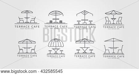 Set Of Terrace Icon Line Art Logo Vector Minimalist Illustration Design