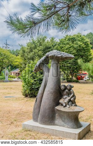 Sejeong South Korea; August 16, 2021: Bronze Sculpture Called Childhood Innocence By Go Ung Kon In P