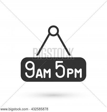 Grey From 9 To 5 Job Icon Isolated On White Background. Concept Meaning Work Time Schedule Daily Rou