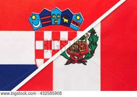 Croatia And Peru, Symbol Of Country. Croatian Vs Peruvian National Flags.