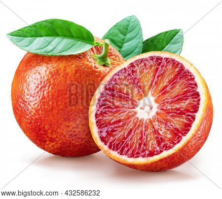 Red orange with green leaf and orange slice on white background. Maximum depth of field across the entire image field. File contains clipping path.