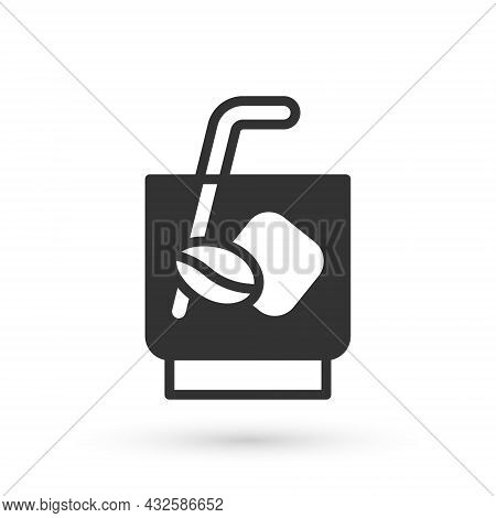 Grey Espresso Tonic Coffee Icon Isolated On White Background. Vector