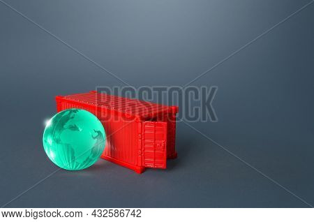 Earth Globe And Red Ship Container. Trade And Transportation Of Goods. Business Globalization. Impor
