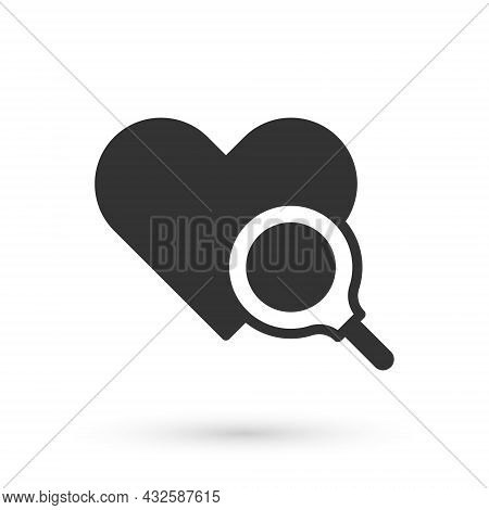 Grey Medical Heart Inspection Icon Isolated On White Background. Heart Magnifier Search. Vector