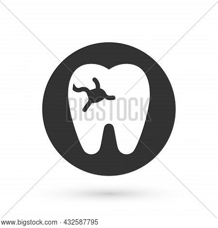 Grey Tooth With Caries Icon Isolated On White Background. Tooth Decay. Vector