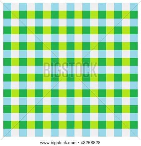 poster of a checked pattern of green, lime green, light blue and light grey squares