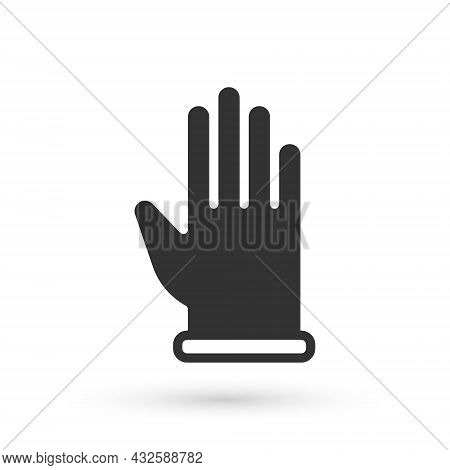 Grey Rubber Gloves Icon Isolated On White Background. Latex Hand Protection Sign. Housework Cleaning