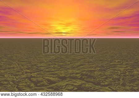 Extreme Abstract Landscape Orange Sky Parched Earth 3d Rendering