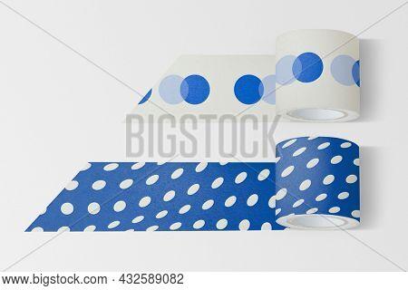 Blue washi tape in cute polka dot pattern