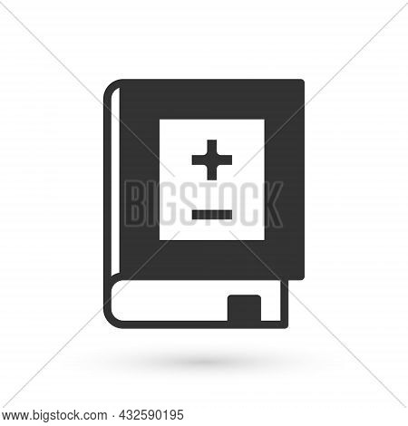 Grey Book With Mathematics Icon Isolated On White Background. Math Book. Education Concept About Bac
