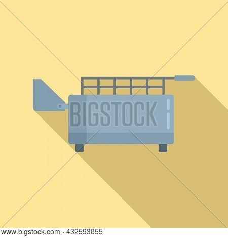 Kitchen Deep Fryer Icon Flat Vector. Fry Basket. Oil Machine