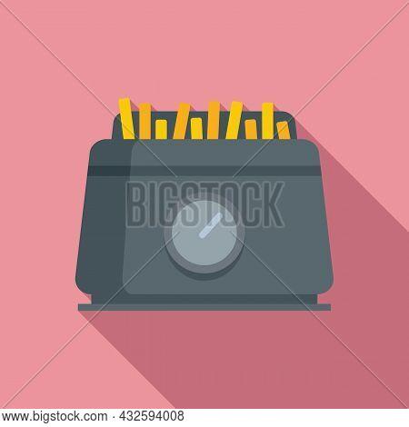 Fry Appliance Icon Flat Vector. Deep Fryer. Oil Basket