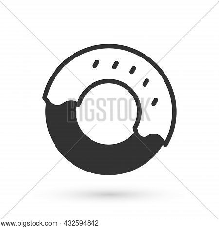 Grey Donut With Sweet Glaze Icon Isolated On White Background. Vector