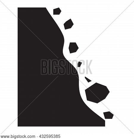 Falling Rock Icon On White Background. Falling Debris Sign. Abyss Symbol. Flat Style.