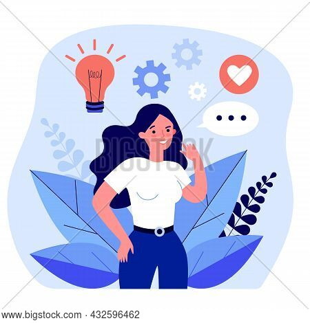 Woman Engaged And Sharing Her Creativity And Ideas. Flat Vector Illustration. Girl Developing Her Ab