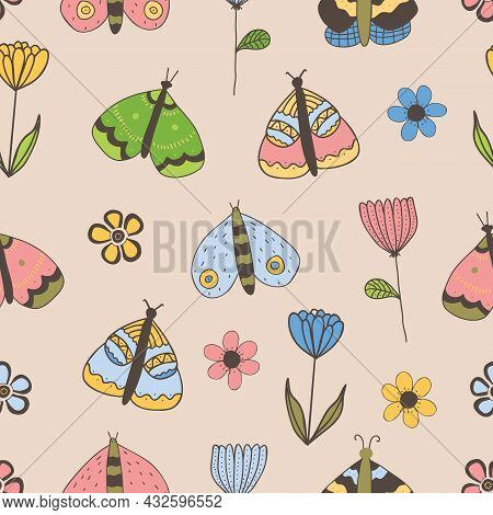 Vector Seamless Pattern With Butterflies, Flowers On Beige Background. For Decoration, Invitation Ba