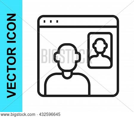 Black Line Video Chat Conference Icon Isolated On White Background. Online Meeting Work Form Home. R