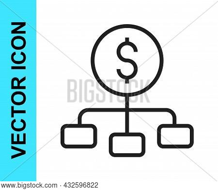 Black Line Dollar On Top Of Financial Hierarchy Icon Isolated On White Background. Vector