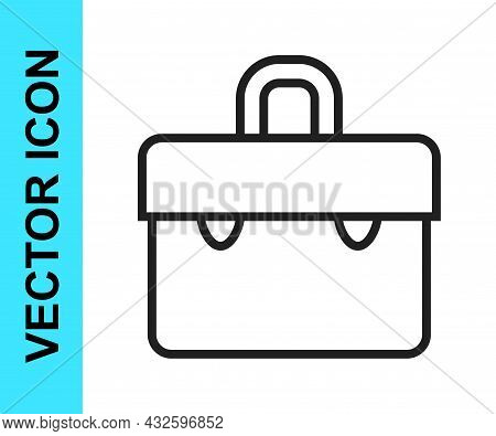 Black Line Briefcase Icon Isolated On White Background. Business Case Sign. Business Portfolio. Vect
