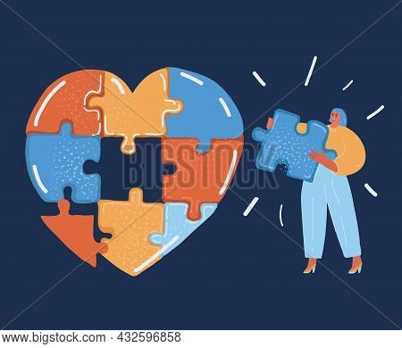 Vector Illustration Of Heart Shape Jigsaw Puzzle And Woman Hold Part Of It