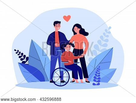 Happy Mother And Father With Daughter On Wheelchair. Man And Woman With Disabled Girl Flat Vector Il