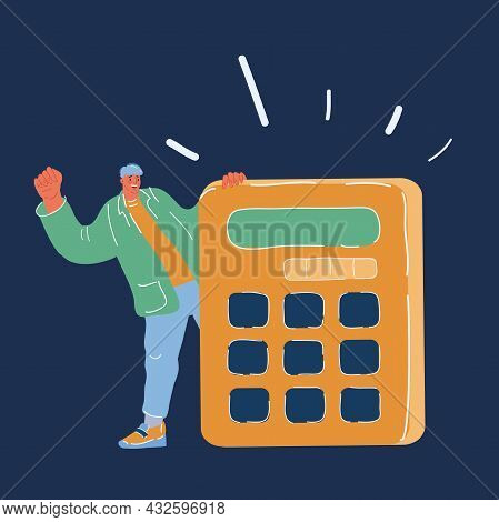 Vector Illustration Of Man With Big Calculate