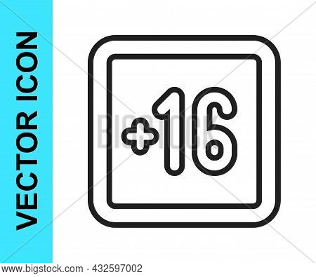 Black Line Plus 16 Movie Icon Isolated On White Background. Adult Content. Sixteen Plus Icon. Censor