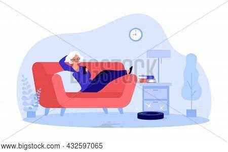 Elderly Cartoon Woman Controlling Robot Vacuum Cleaner Via Phone. Old Lady Lying On Sofa Flat Vector