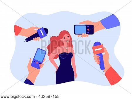 Female Cartoon Celebrity In Dress And Hands With Mics. Journalists Interviewing Famous Actress Flat