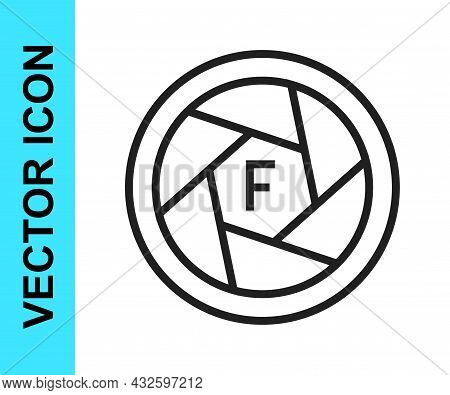 Black Line Camera Shutter Icon Isolated On White Background. Vector