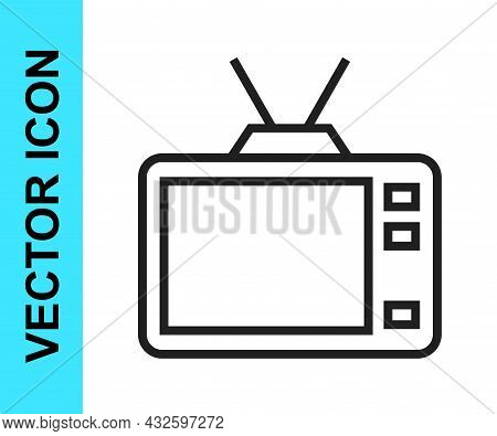 Black Line Retro Tv Icon Isolated On White Background. Television Sign. Vector