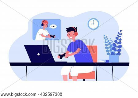 Boys Playing Network Game Flat Vector Illustration. Children Having Fun In Headphones With Controlle
