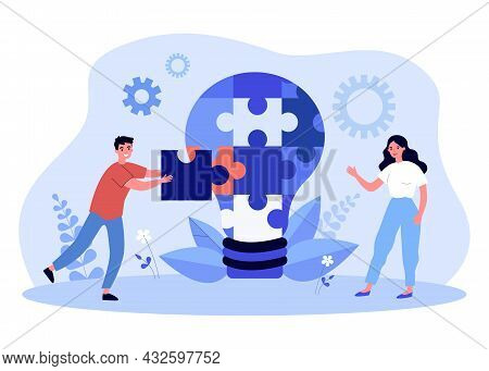 Young Man And Woman Putting Together Puzzle Into Light Bulb. Flat Vector Illustration. Creative Peop