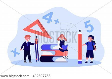 Cartoon School Children With Huge Stationary. Tiny Students With Compass Or Divider, Pencil And Prot